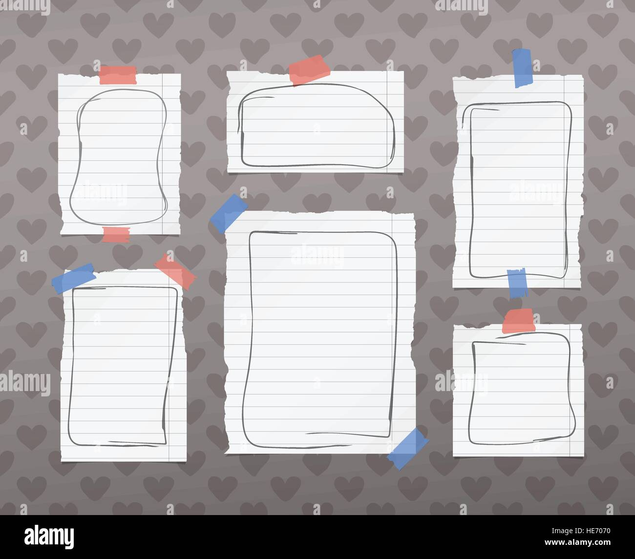 Ripped White Ruled Notebook Note Copybook Paper Sheets With Doodle Stock Vector Image Art Alamy