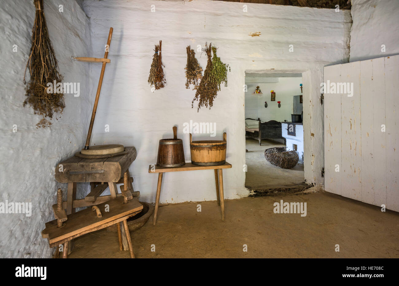 Wheel-wright workshop at farmstead from Posada Olchowska, 1880, Dolinians ethnic group, Rural Architecture Museum, - Stock Image