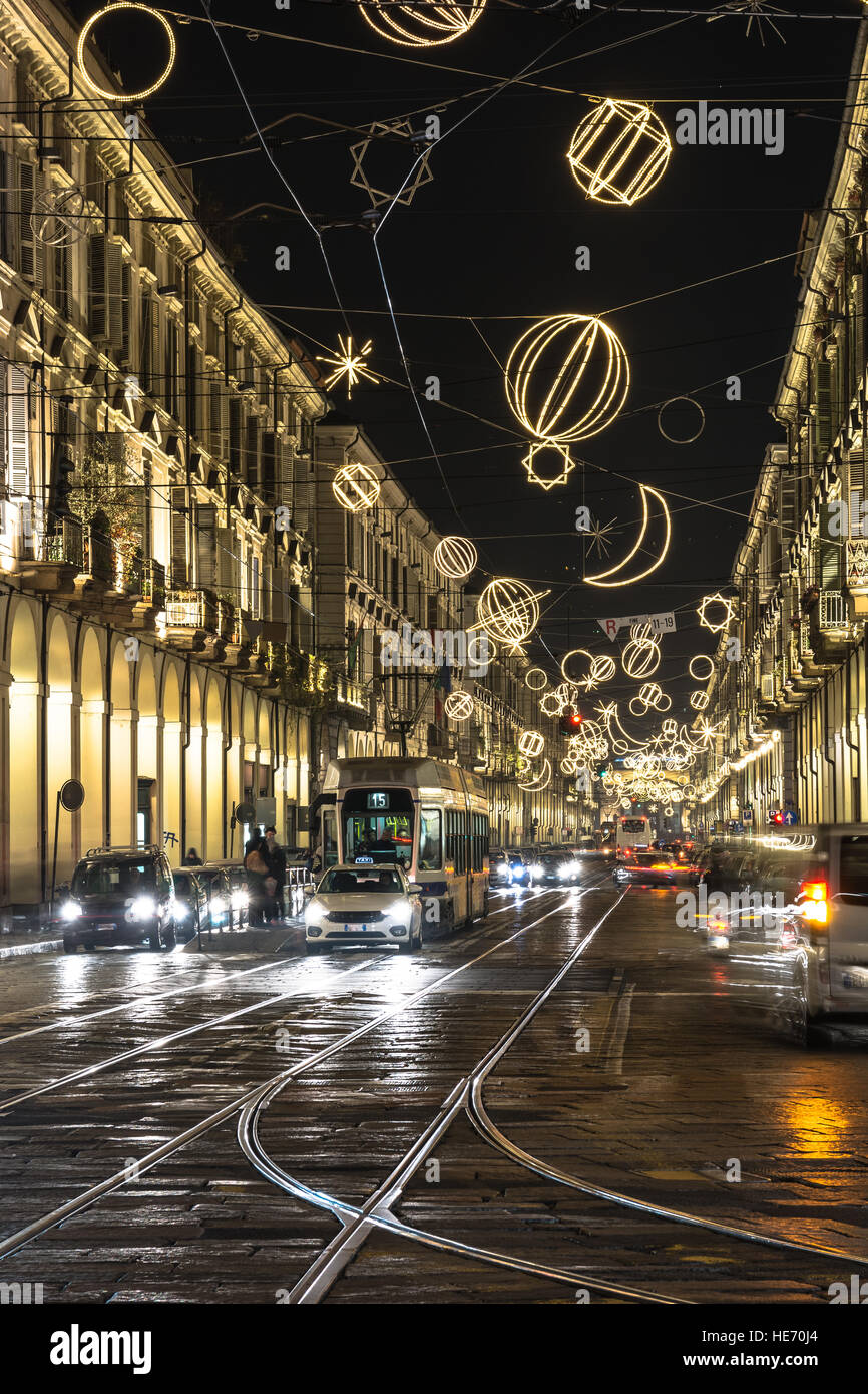Via Po at Christmas time in Turin, Italy Stock Photo