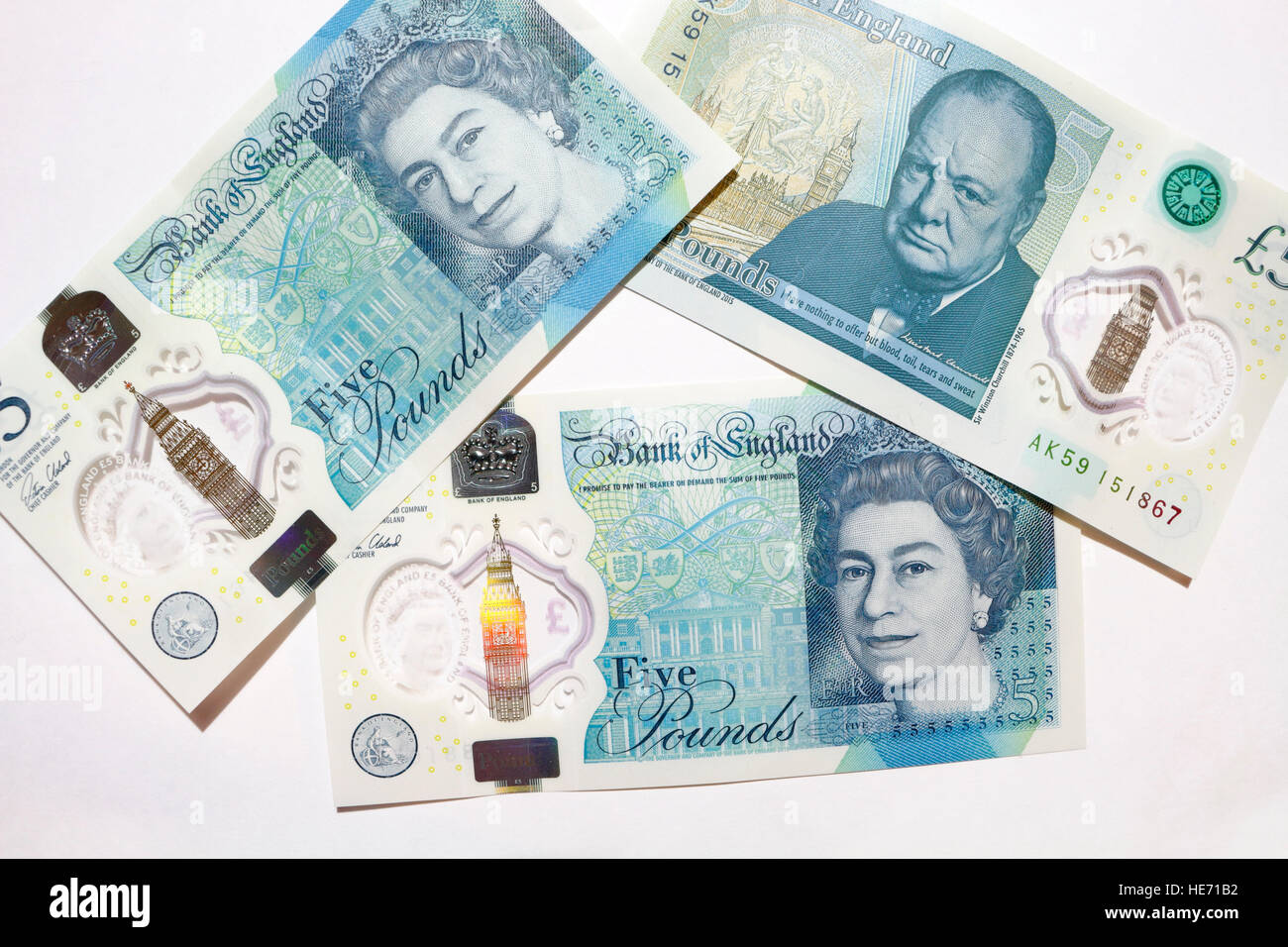 New British Five Pound banknotes - Stock Image