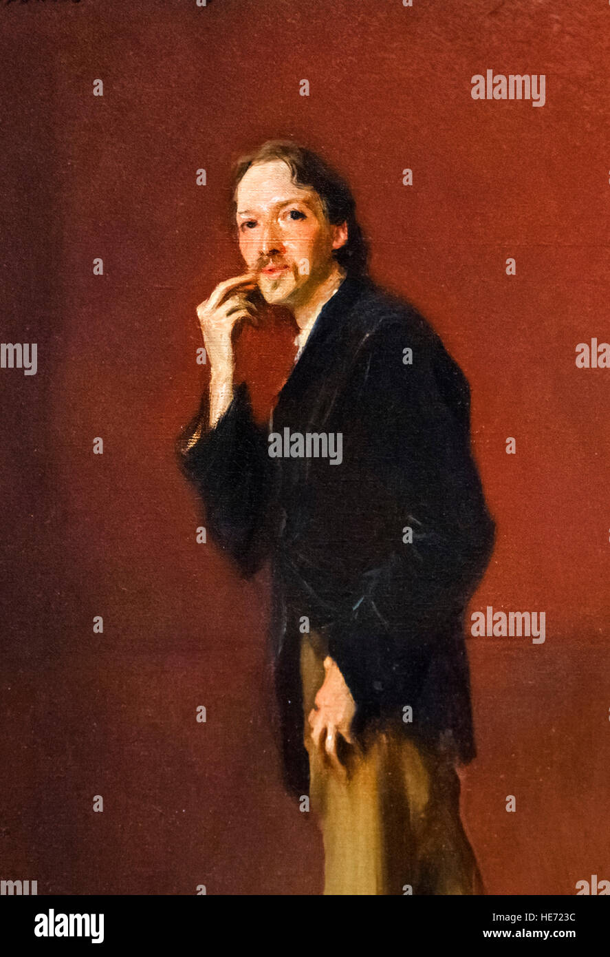 "Robert Louis Stevenson by John Singer Sargent, oil on canvas, 1885. This is a detail of a larger painting, ""Robert Stock Photo"