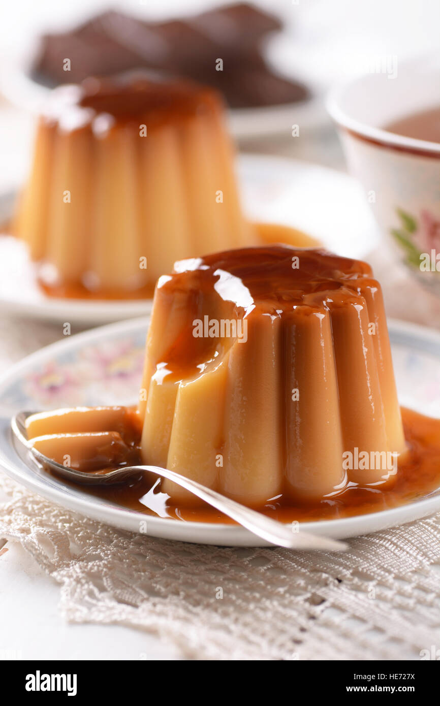 vanilla pudding with caramel for breakfast - Stock Image