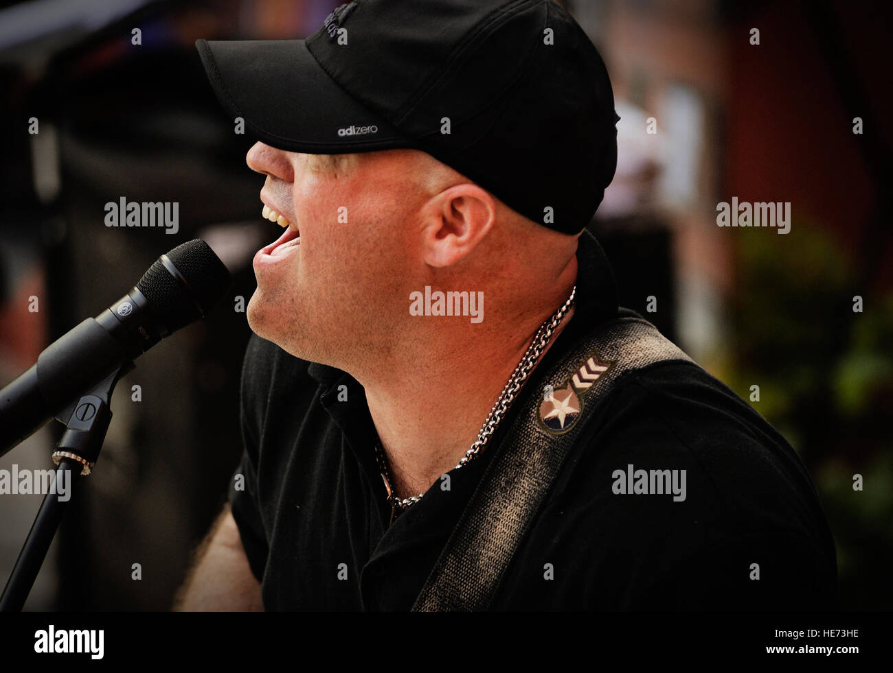 Tech. Sgt. Jason Cale, U.S. Air Forces in Europe and Air Forces Africa band guitarist and vocalist, performs in - Stock Image