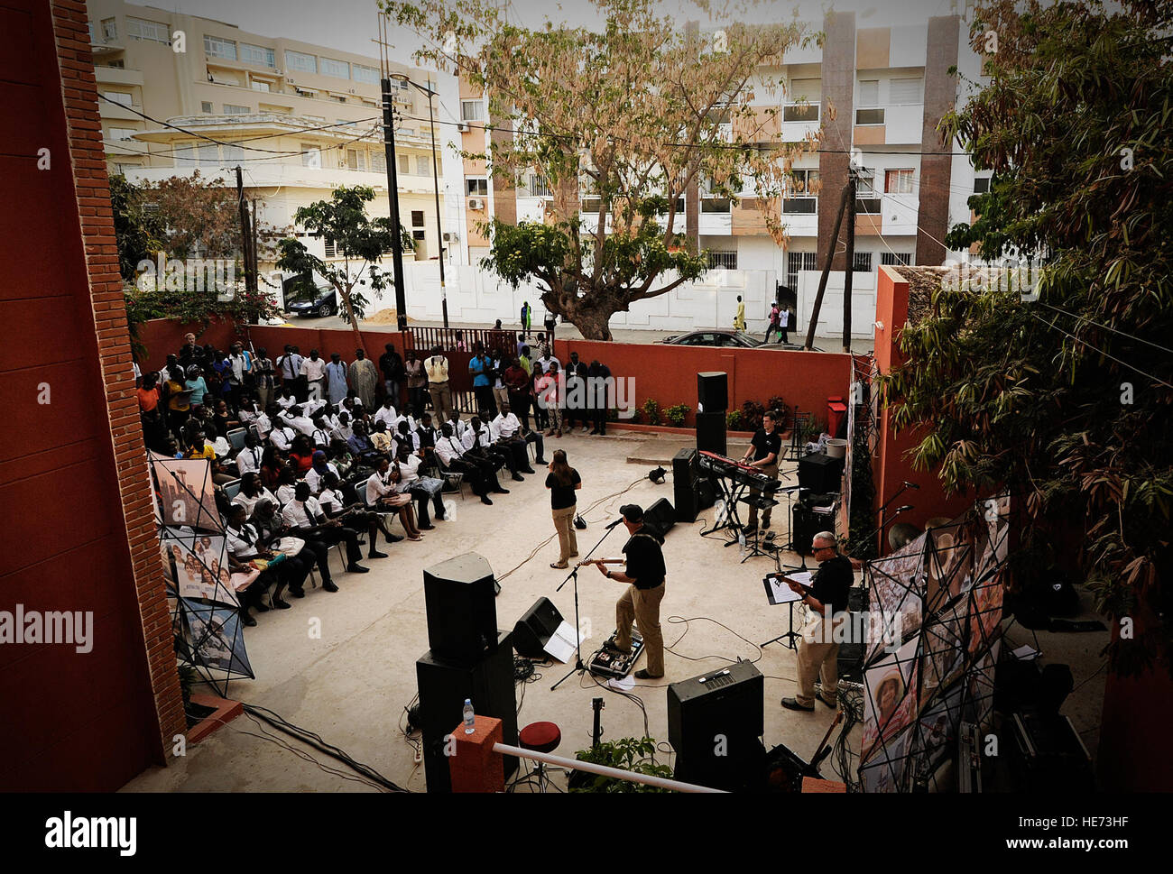 The U.S. Air Forces in Europe and Air Forces Africa band performs in Dakar, Senegal, June 13, 2014, at a local university. - Stock Image