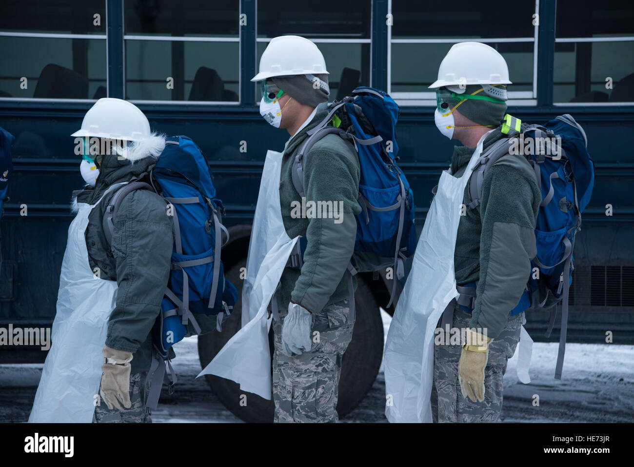 Airmen from the 35th Force Support Squadron arrive at the scene of a simulated aircraft crash at Misawa Air Base, - Stock Image