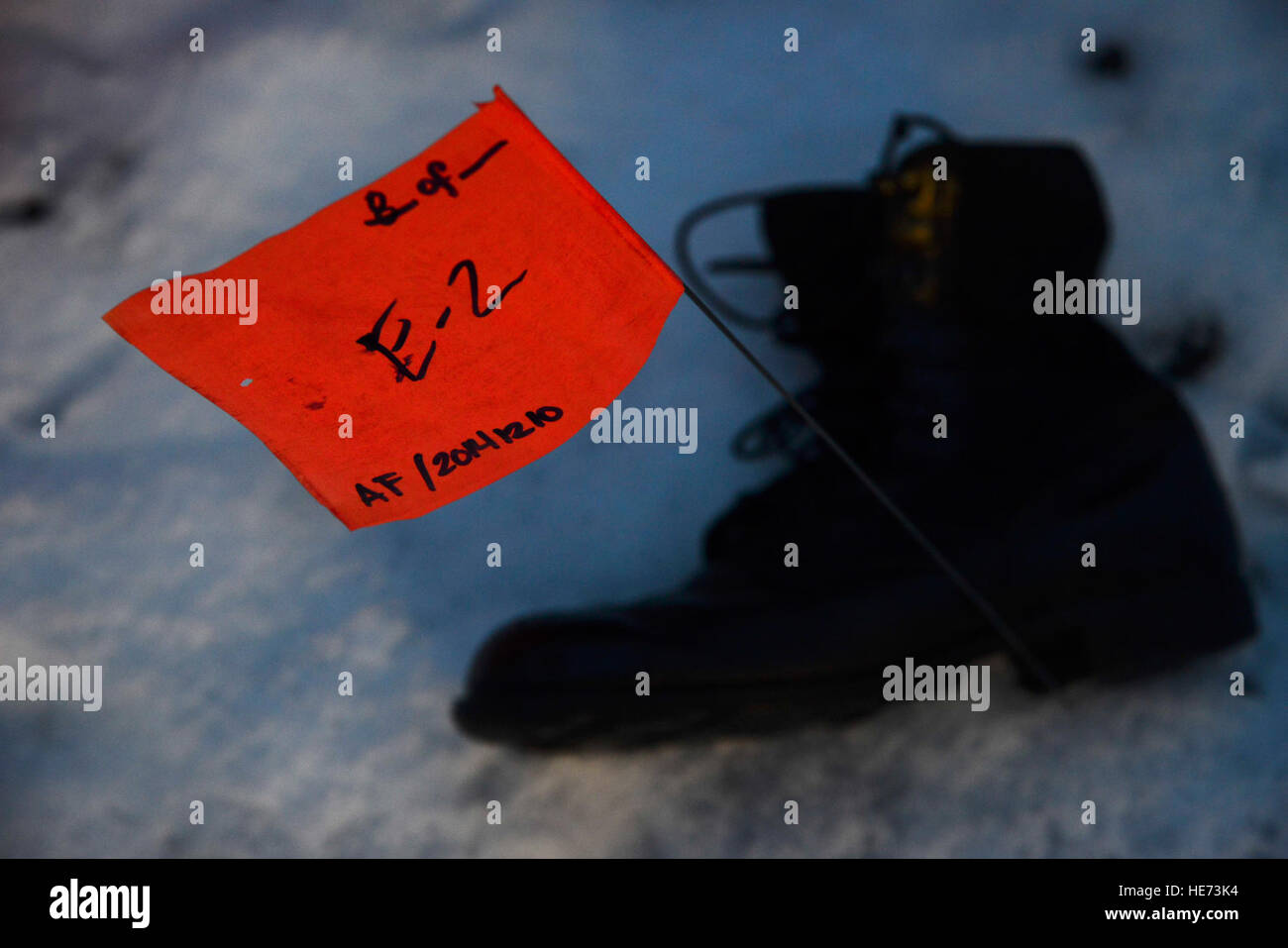 Evidence from a simulated C-130 Hercules crash is marked on the scene at Misawa Air Base, Japan, Dec. 10, 2014. - Stock Image