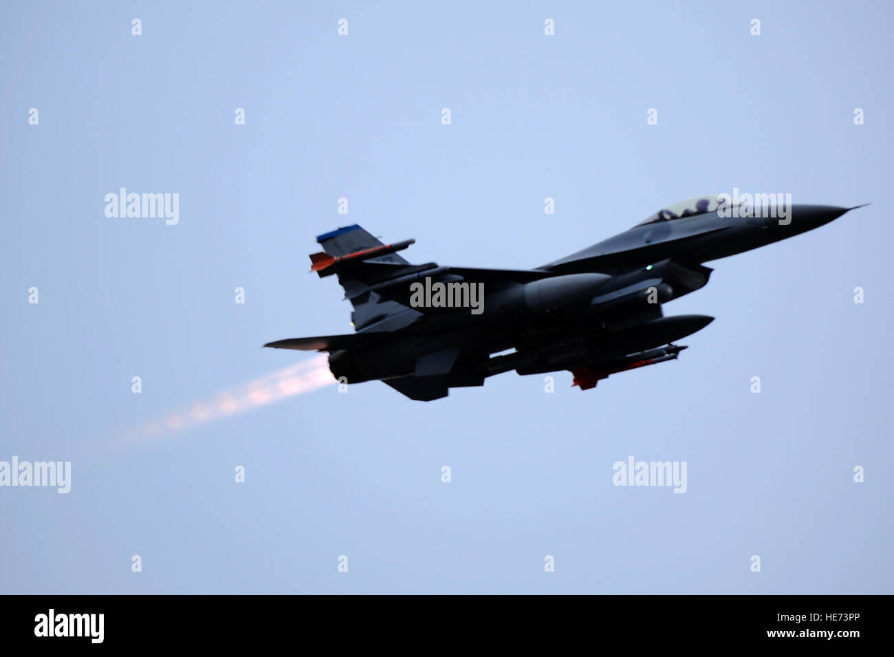 MISAWA AIR BASE, Japan - An F-16 Fighting Falcon from the 35th Fighter Squadron out of Kunsan Air Base, Korea takes - Stock Image