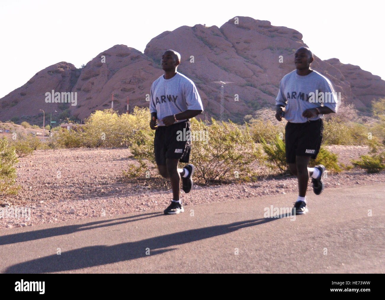 Frederick and Derick Aidoo run in sync as they do in life and military career. The twins were recently promoted - Stock Image