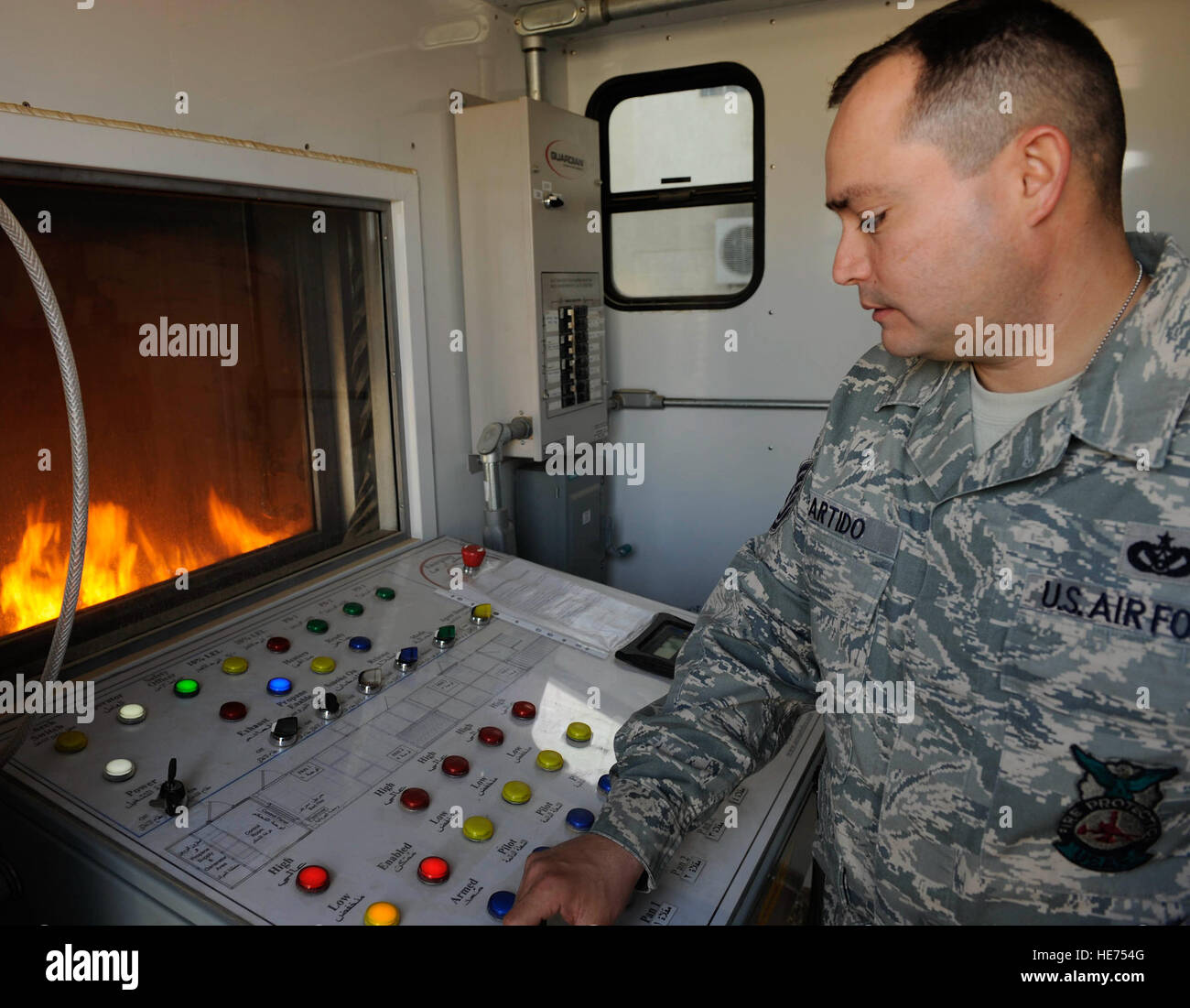 Technical Sgt. Brian Partido, 821st Basic Technical Training Squadron Coalition Air Force Training Team fire rescue - Stock Image