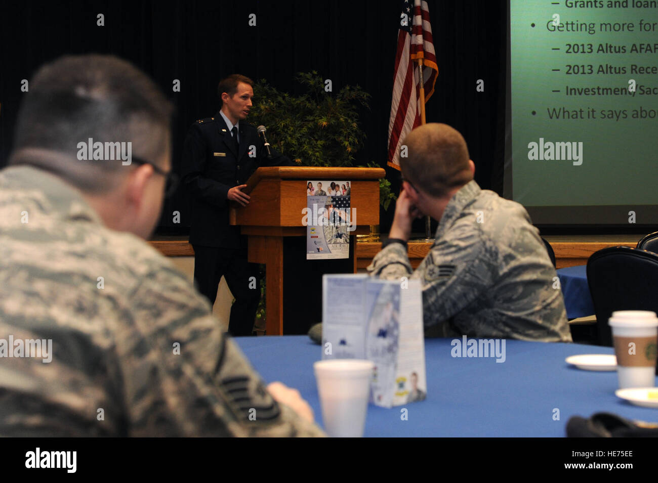 U.S. Air Force Capt. Mike Bunnell, Air Force Assistance Fund installation project officer, speaks with unit representatives - Stock Image