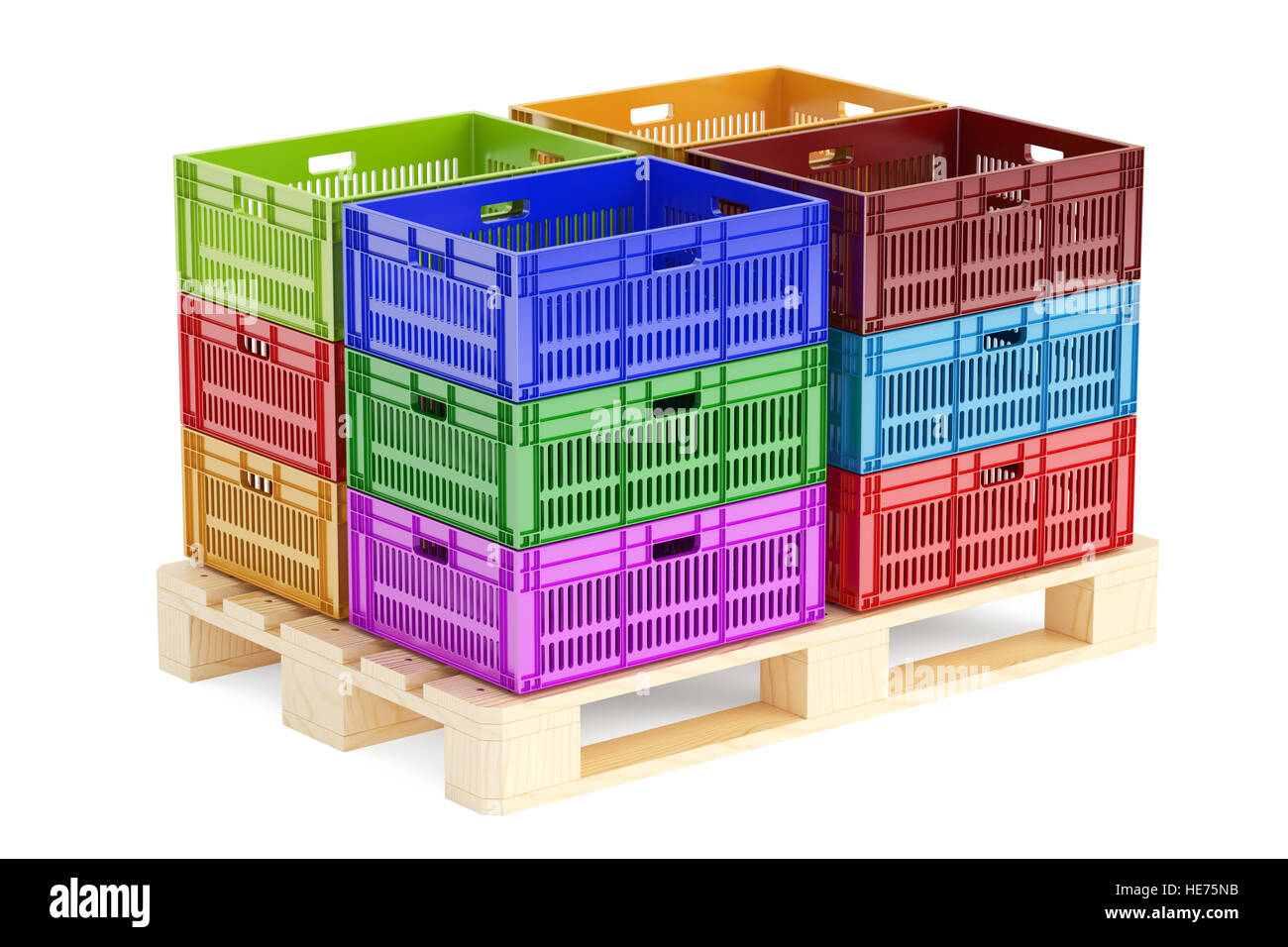 Stack Colored Plastic Crates On The Wooden Pallet 3D Rendering Isolated White Background