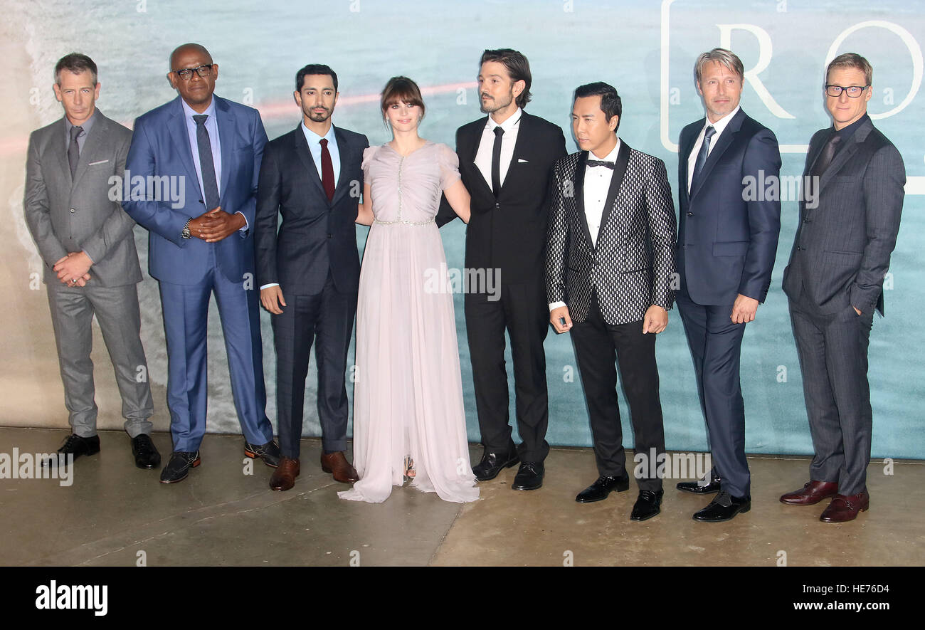 Dec 13, 2016  - (L-R) Actors Ben Mendelsohn, Forest Whitaker, Riz Ahmed, Felicity Jones, Diego Luna, Donnie Yen, Stock Photo
