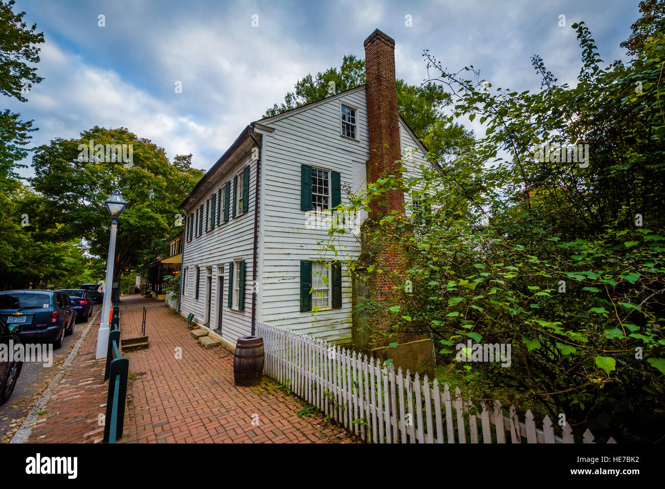 Old houses in the Old Salem Historic District, in downtown Stock ...