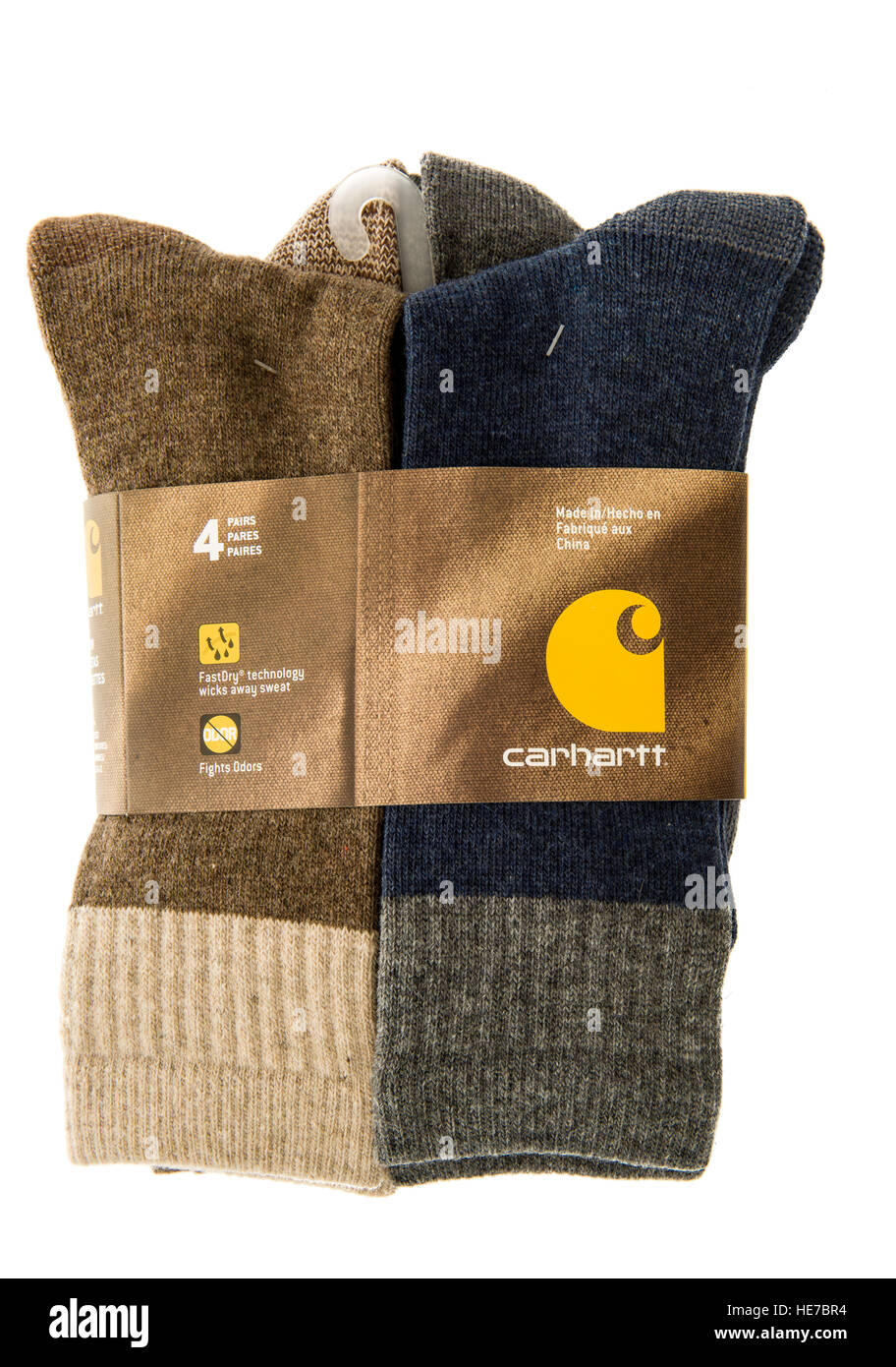 Winneconne, WI - 13 December 2016:  Package of Carhartt socks with fastdry tochnology that wicks away sweat on an - Stock Image