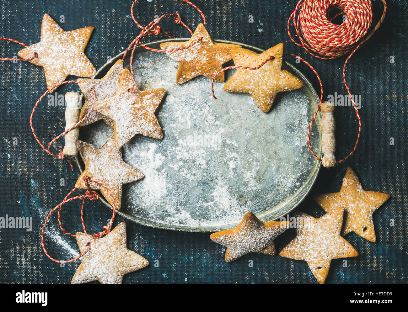 Christmas holiday star shaped gingerbread cookies for tree decoration - Stock Image