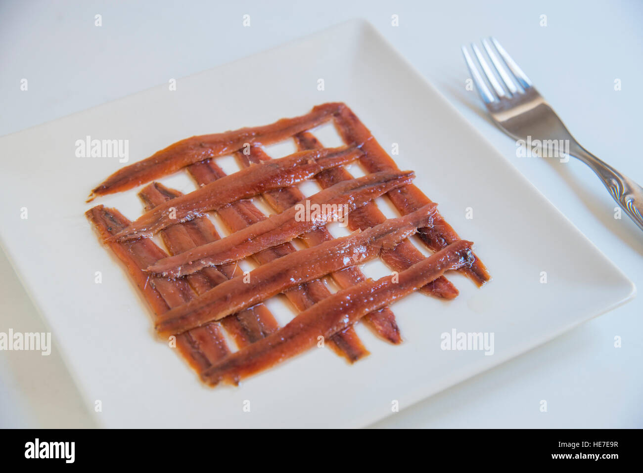 Anchovy fillets. - Stock Image