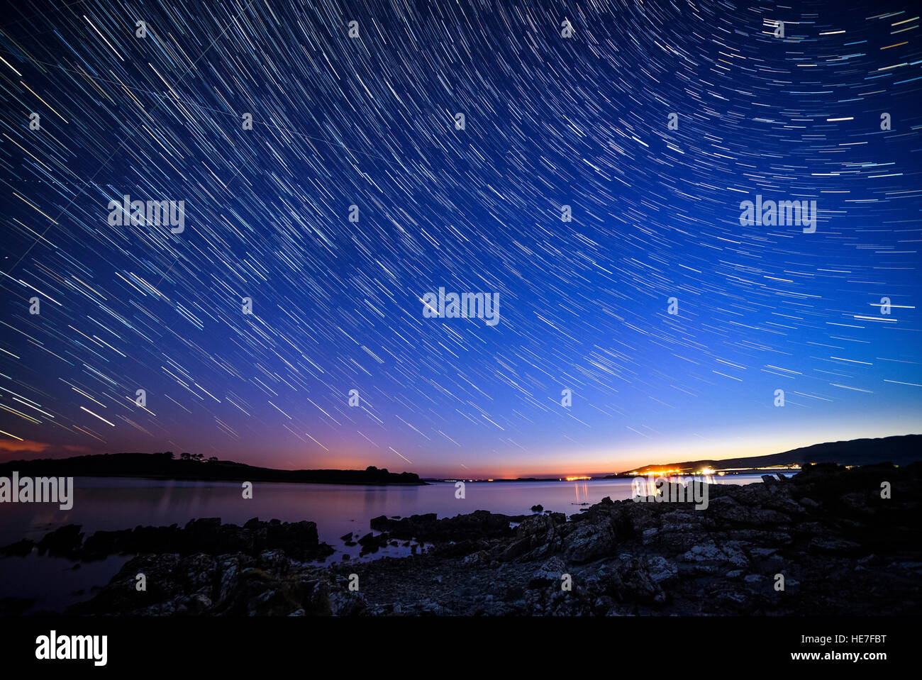Long exposure star trails, Stary night from Carrick, Solway Firth, near Gatehouse of Fleet, Dumfries & Galloway, - Stock Image