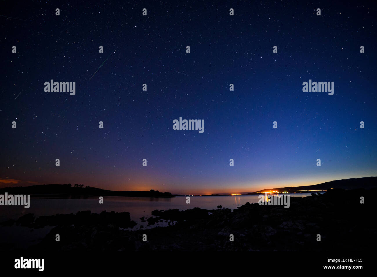 Stary night from Carrick, Solway Firth, near Gatehouse of Fleet, Dumfries & Galloway, Scotland - Stock Image