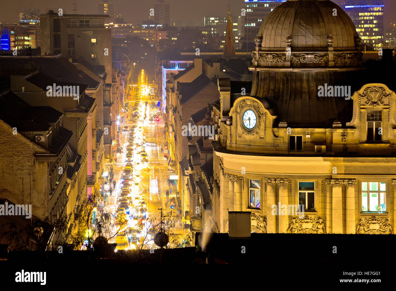 Zagreb street and architecture evening view, capital of Croatia - Stock Image