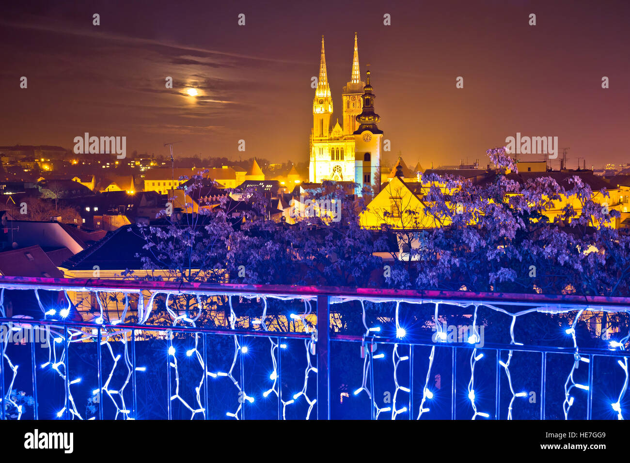 Zagreb cathedral evening advent view, famous landmarks of Croatian capital city - Stock Image