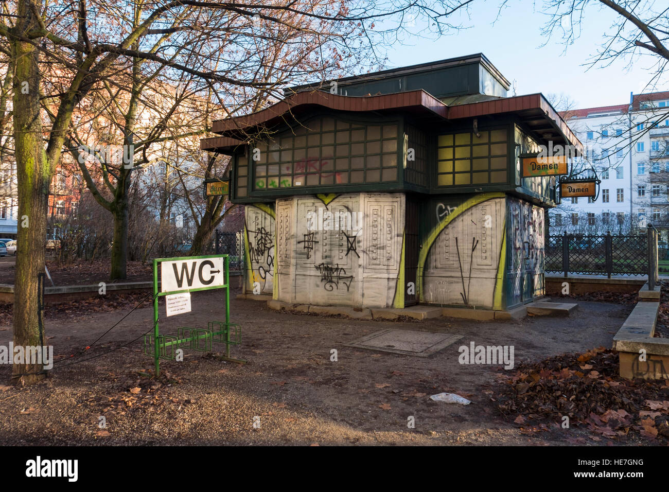 Old Toilet building exterior, public convenience, WC, loo, lavatory in park. Arkonaplatz, Mitte, Berlin - Stock Image