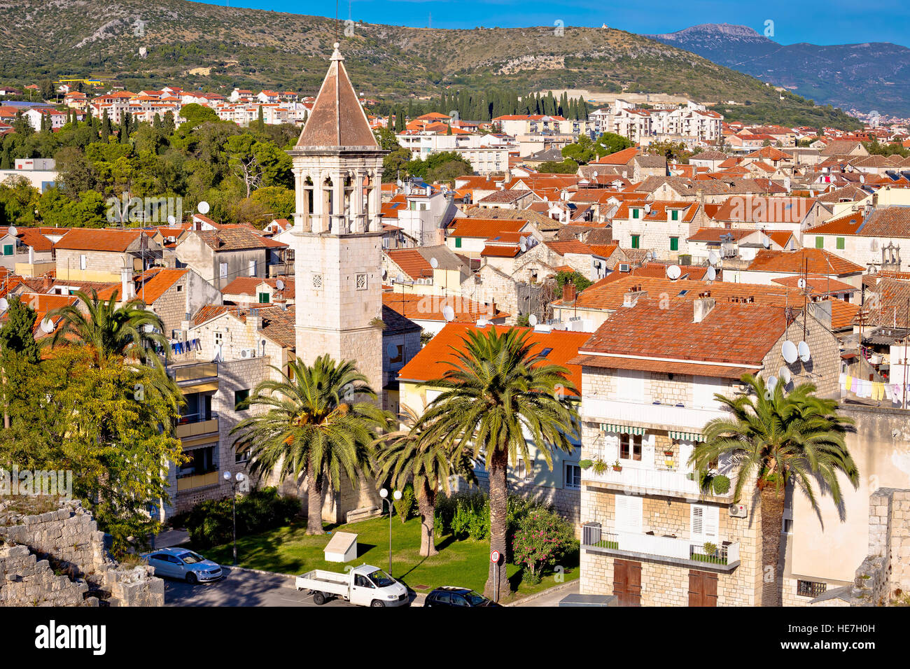 Historic town of Trgogir rooftops view, UNESCO site in Dalmatia, Croatia Stock Photo
