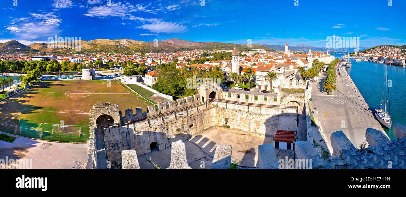 Town of Trogir rooftops and landmarks panoramic view, Dalmatia, Croatia - Stock Image