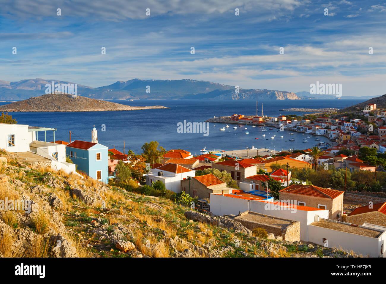 Halki island in Dodecanese archipelago, Greece. - Stock Image
