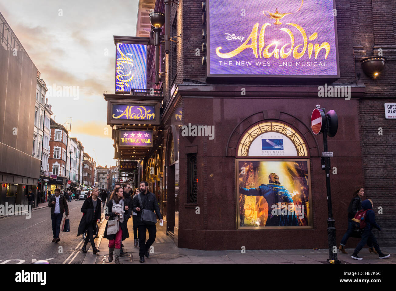 Street view of Prince Edward Theatre in Old Compton Street, Soho, London UK. Now playing Aladdin, Disney's New Musical. - Stock Image