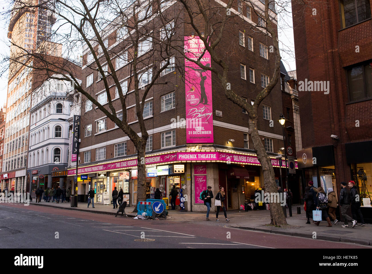 Street view of Phoenix Theatre in Charing Cross Road, Soho, London UK. Now playing the UK tour of Dirty Dancing - Stock Image