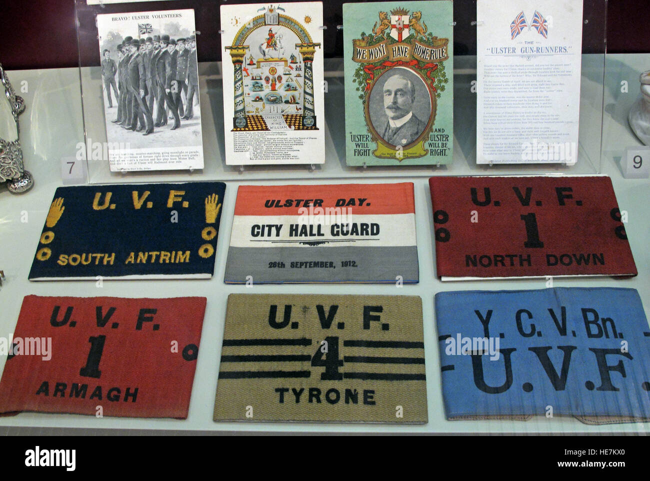 Ulster Day - 28th Sep 1912 - City Hall Guard - Home Rule Crisis UVF armbands Stock Photo