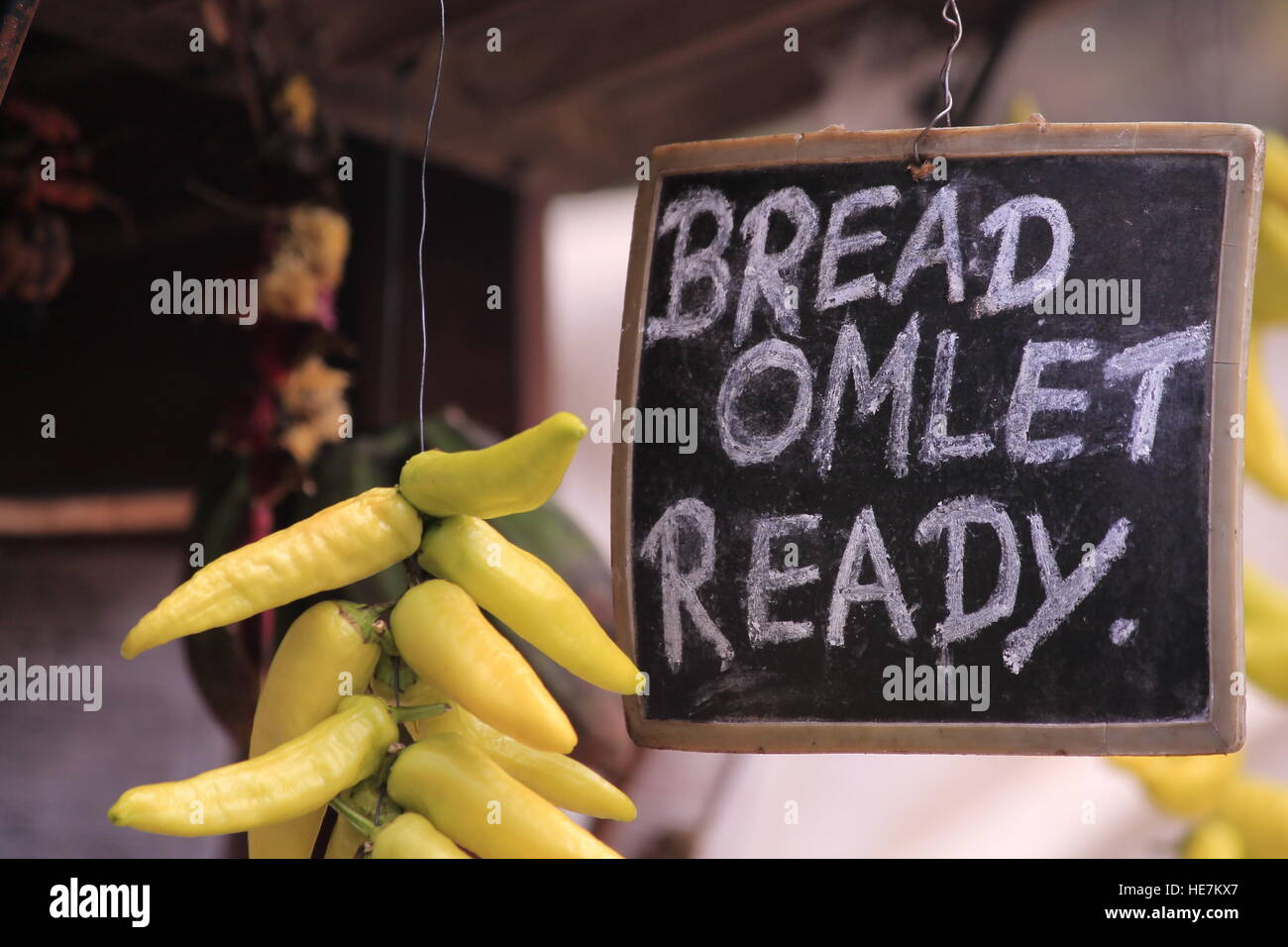 Omelet and Bread from the land of OM. - Stock Image