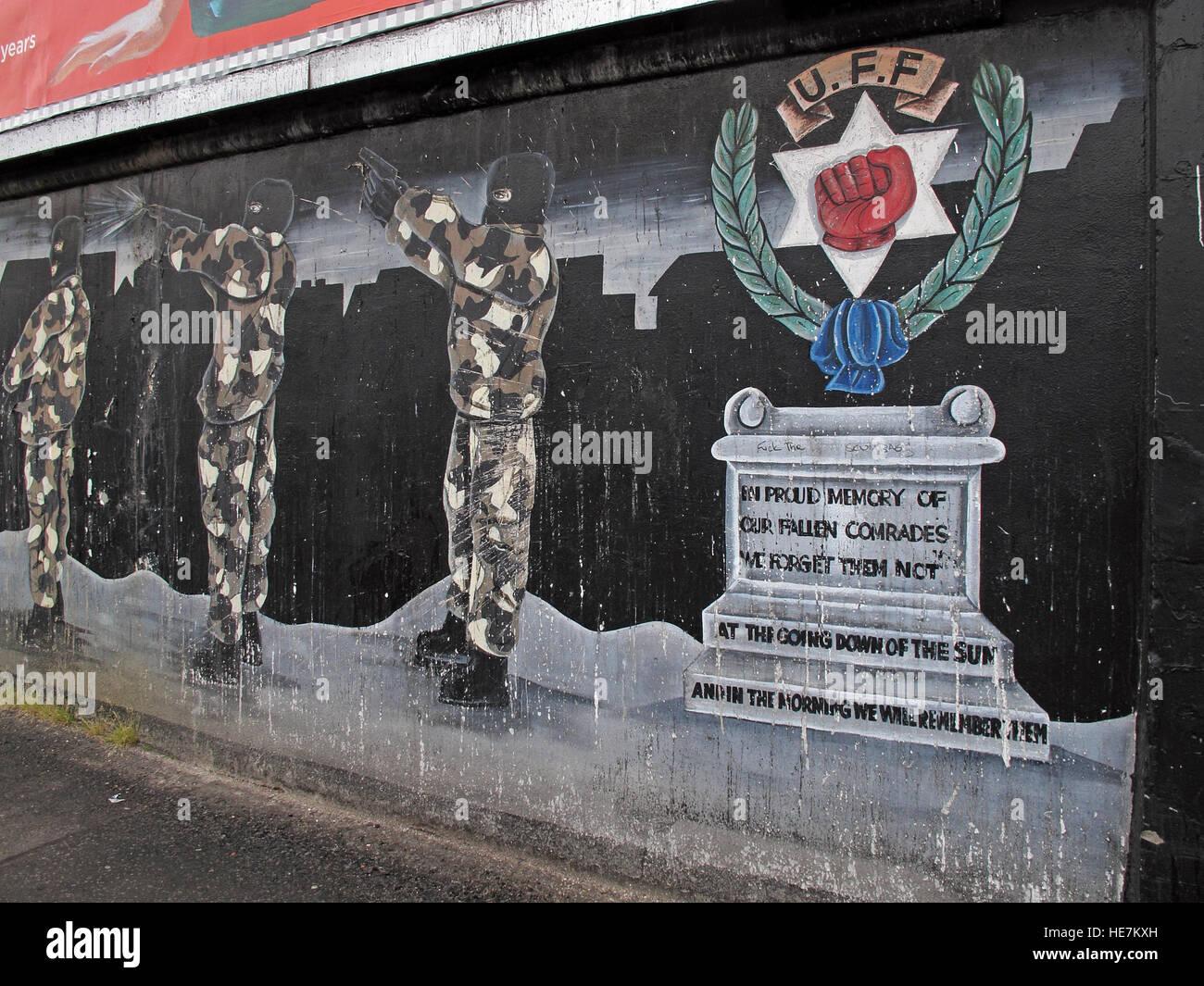 UFF Unionist mural in memory, off Shankill Road West Belfast,Northern Ireland,UK - Stock Image