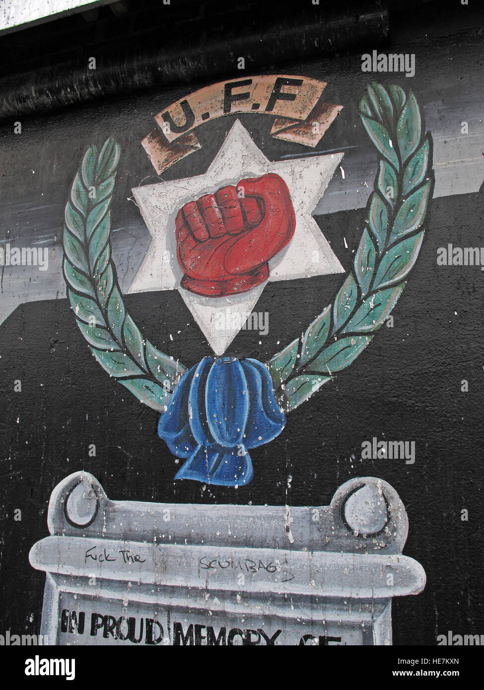 UFF Unionist mural, off Shankill Road West Belfast,Northern Ireland,UK - Stock Image