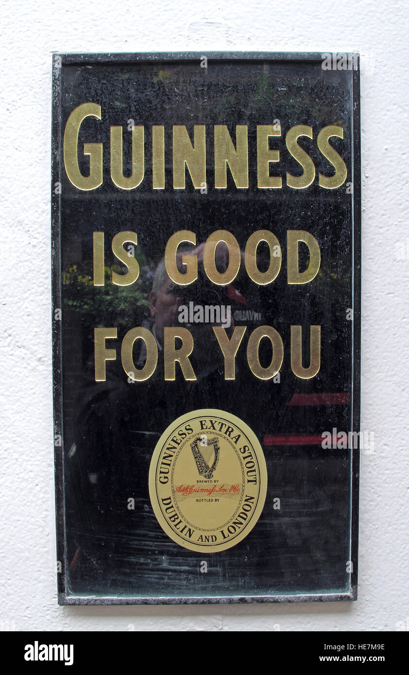 Dublin and London,Guinness Is Good For You Sign, Extra Stout - Stock Image