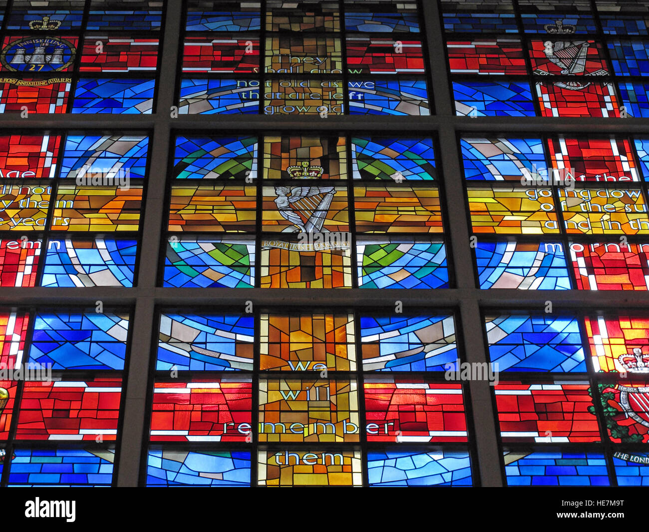 St Annes Belfast Cathedral Interior,Royal Irish Rangers Stained Glass Window - We will remember them - Stock Image