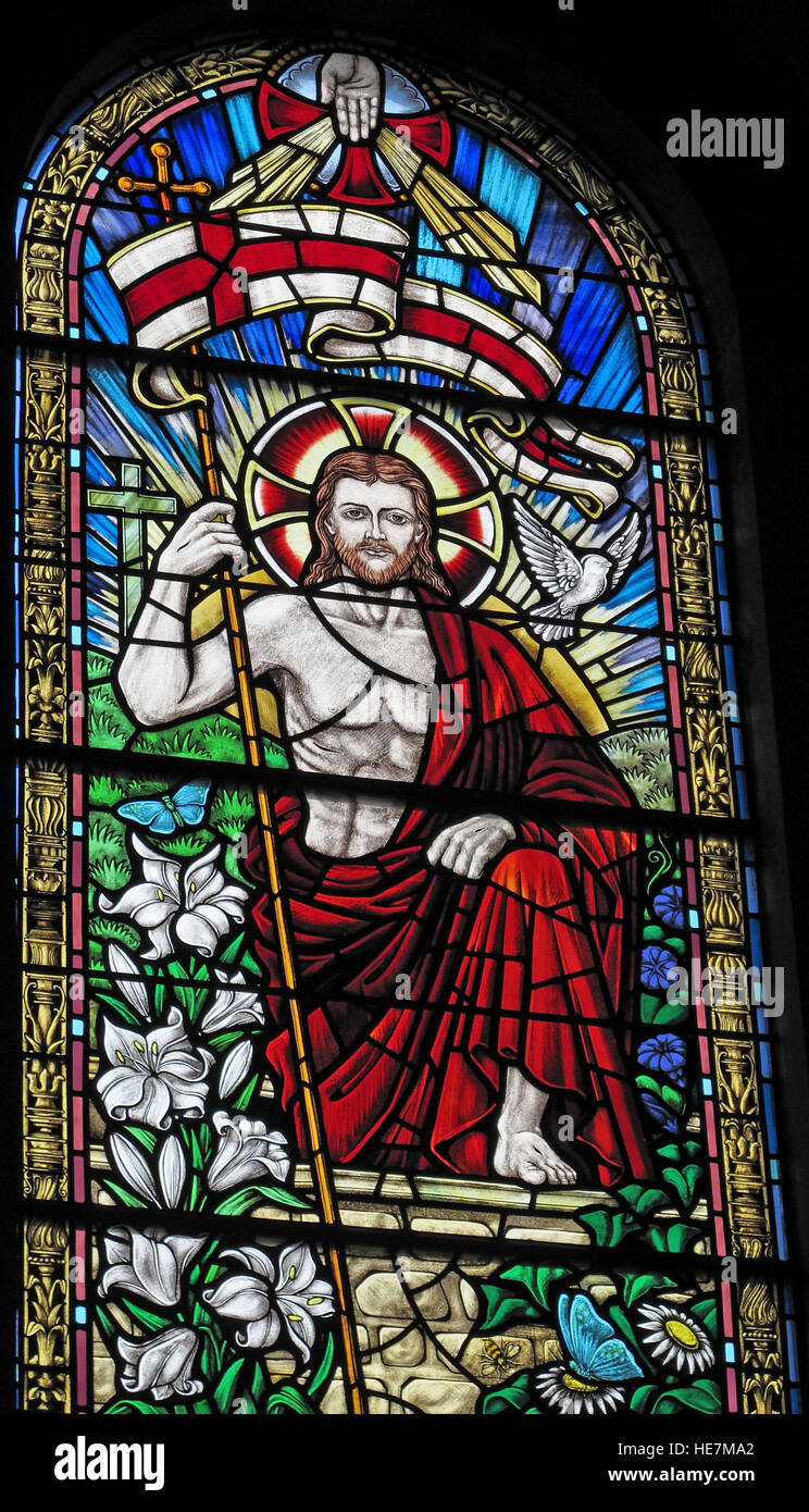 St Annes Belfast Cathedral Interior,St George flag stained glass window - Stock Image