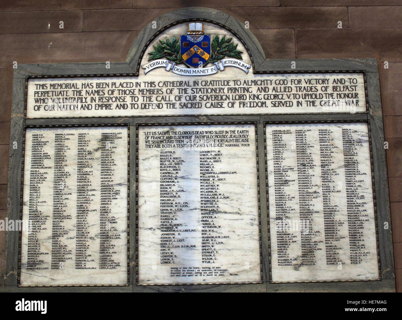 St Annes Belfast Cathedral Interior,Members of stationary,printing & allied trades who served in the great war - Stock Image