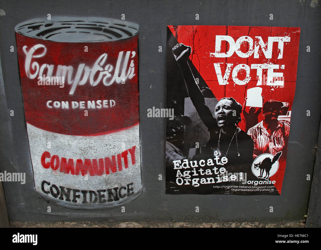 Dont Vote, Community Confidence,Educate,Agitate,Organise,Belfast Garfield St        City Centre, Northern Ireland, - Stock Image