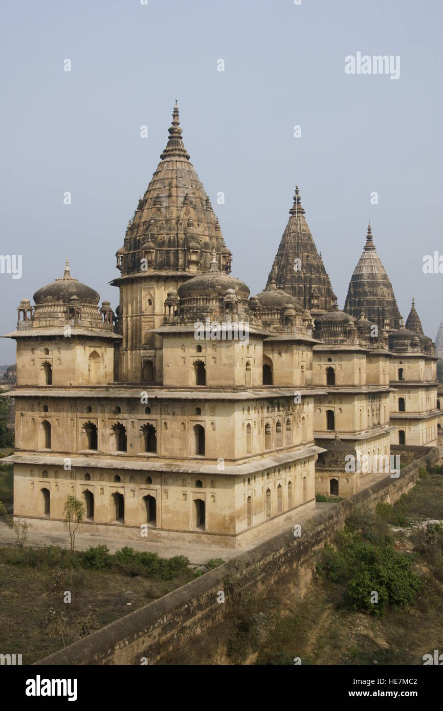 Royal tombs (Chhattris) of former rulers of Orchha. Madhya Pradesh, India. - Stock Image
