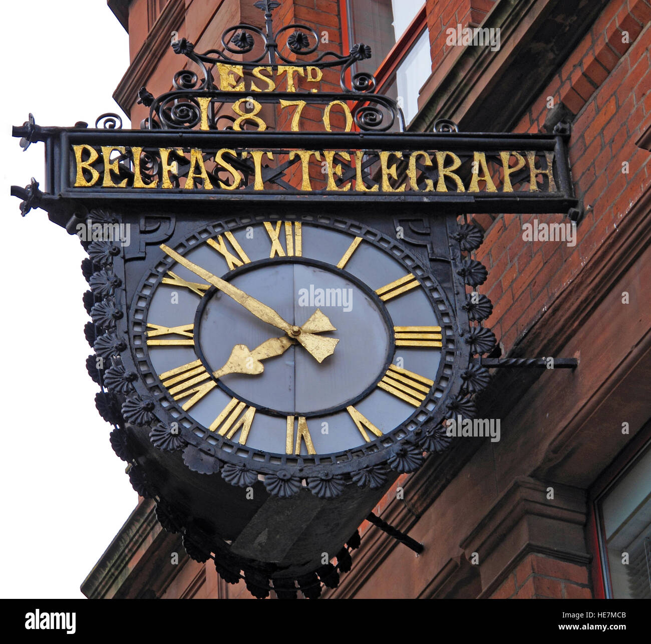 Belfast Telegraph,estd 1870,clock,Belfast Telegraph House,33 Clarendon Road,Belfast, Northern Ireland,UK - Stock Image