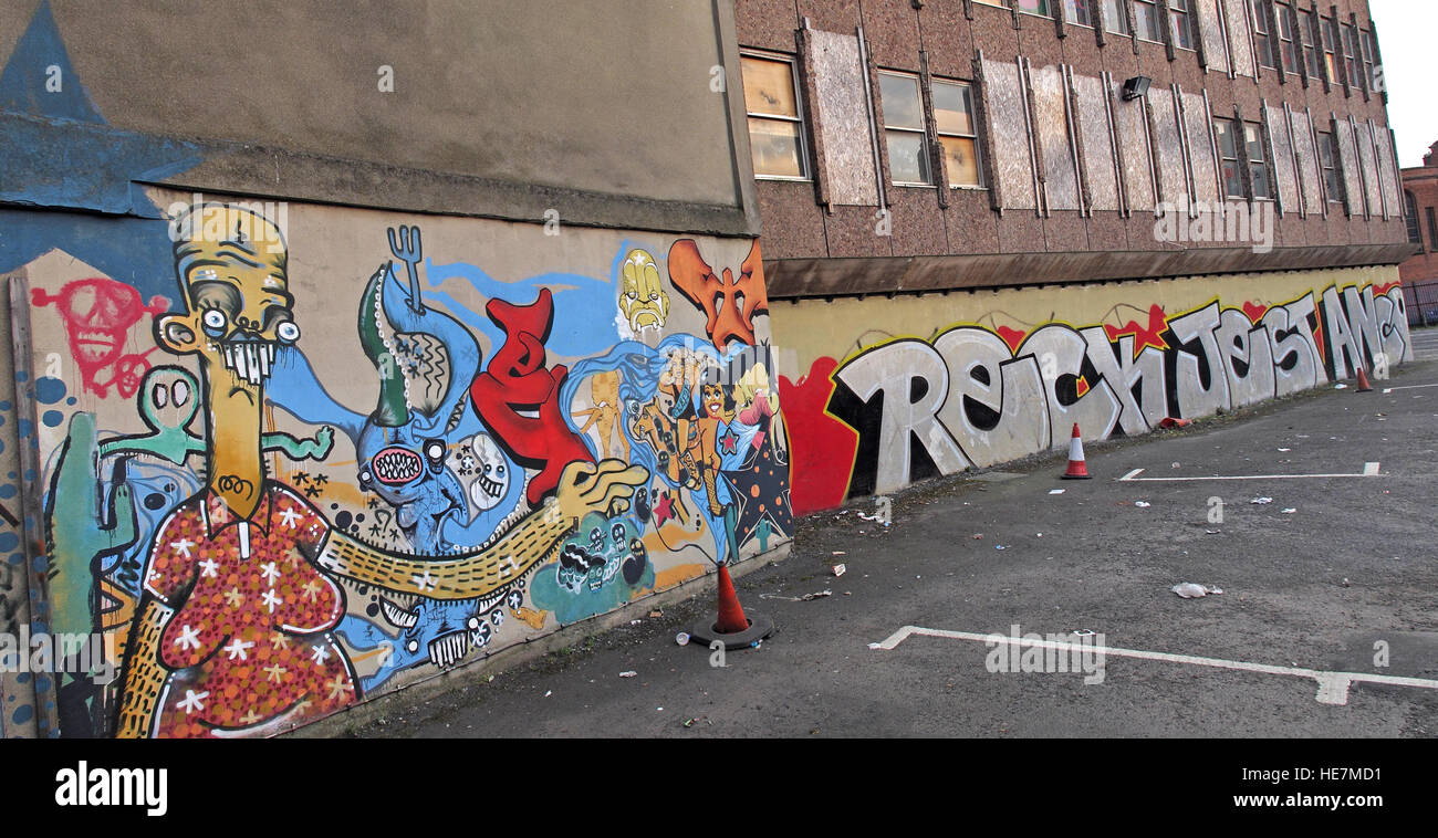 Belfast Graffiti near Garfield St        City Centre, Northern Ireland, UK Stock Photo