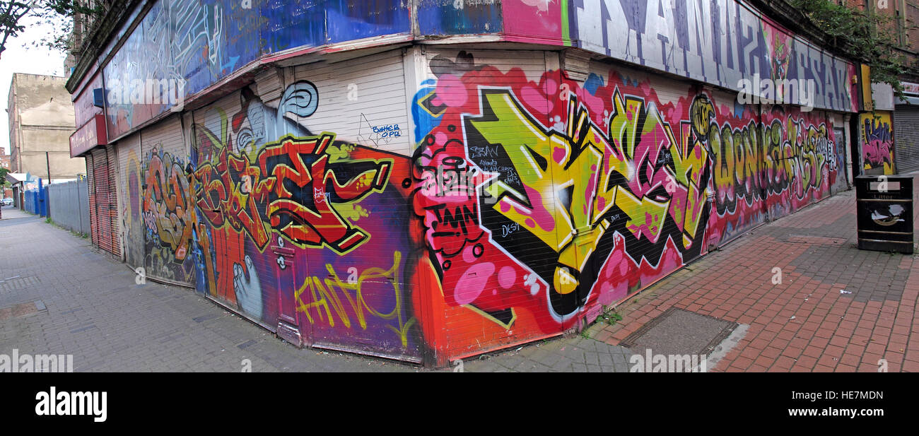 Belfast Garfield St graffiti,panorama,City Centre, Northern Ireland, UK - Stock Image