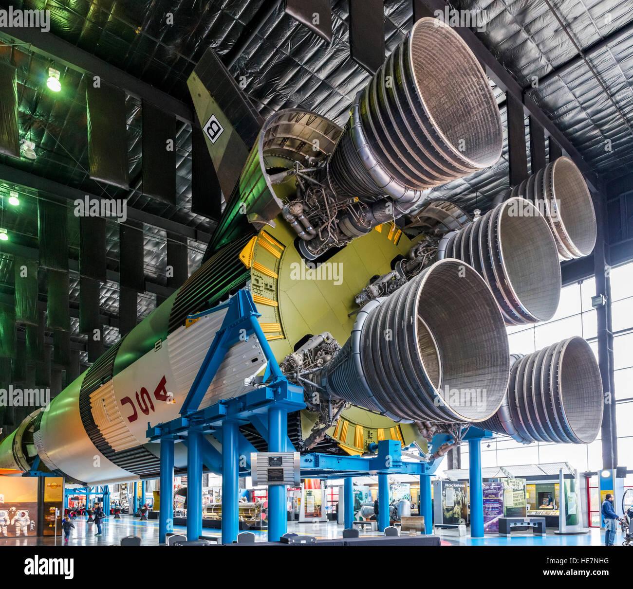Saturn V Rocket (Saturn V Dynamic Test Vehicle - SA-500D) at the US Space and Rocket Center, Huntsville, Alabama, - Stock Image