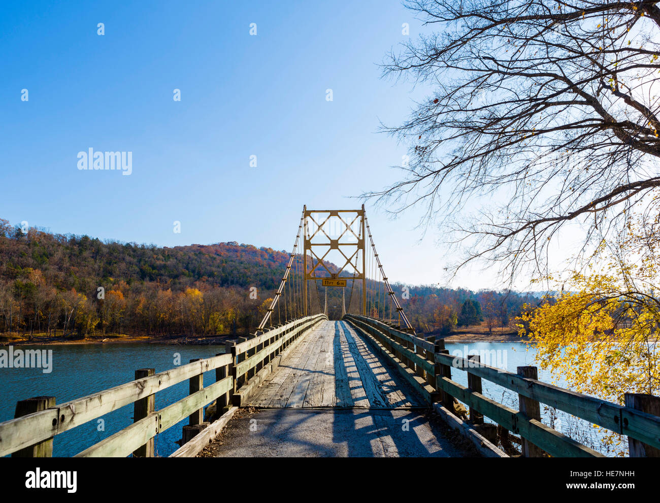 Historic Beaver Bridge over the White River, Table Rock Lake, Beaver, Ozark Mountains, Arkansas, USA - Stock Image