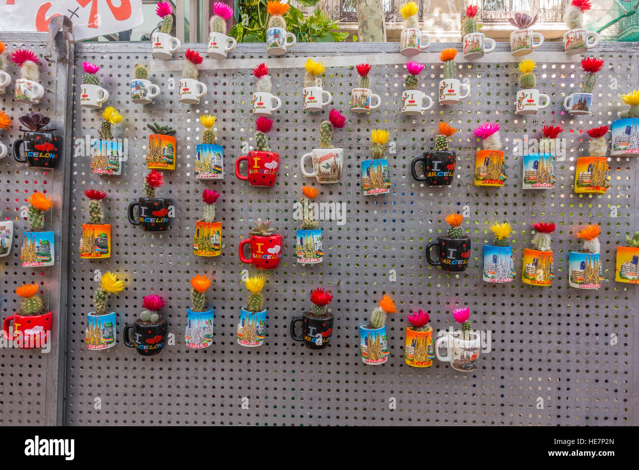 Cactus plants planted in coffee mugs as mementos for sale, on La Rambla, the famous walking street in Barcelona, - Stock Image