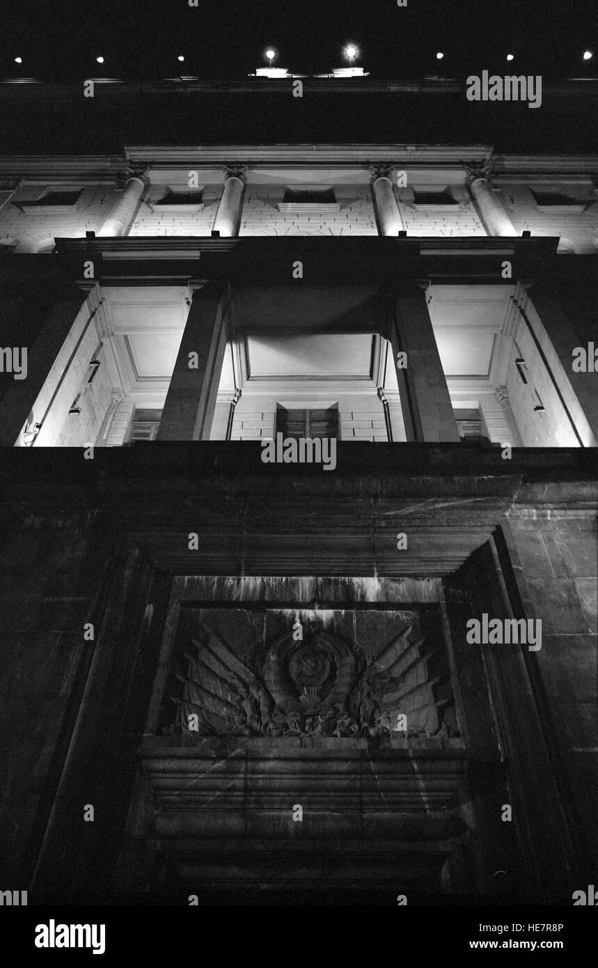 facade of FSB (former KGB) building at night - Stock Image