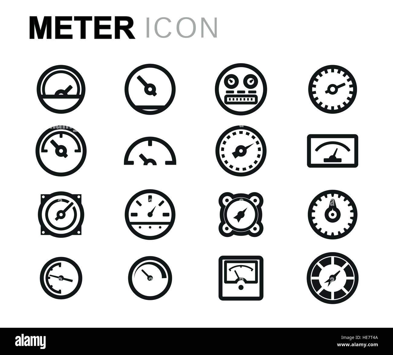 Vector line meter icons set - Stock Image