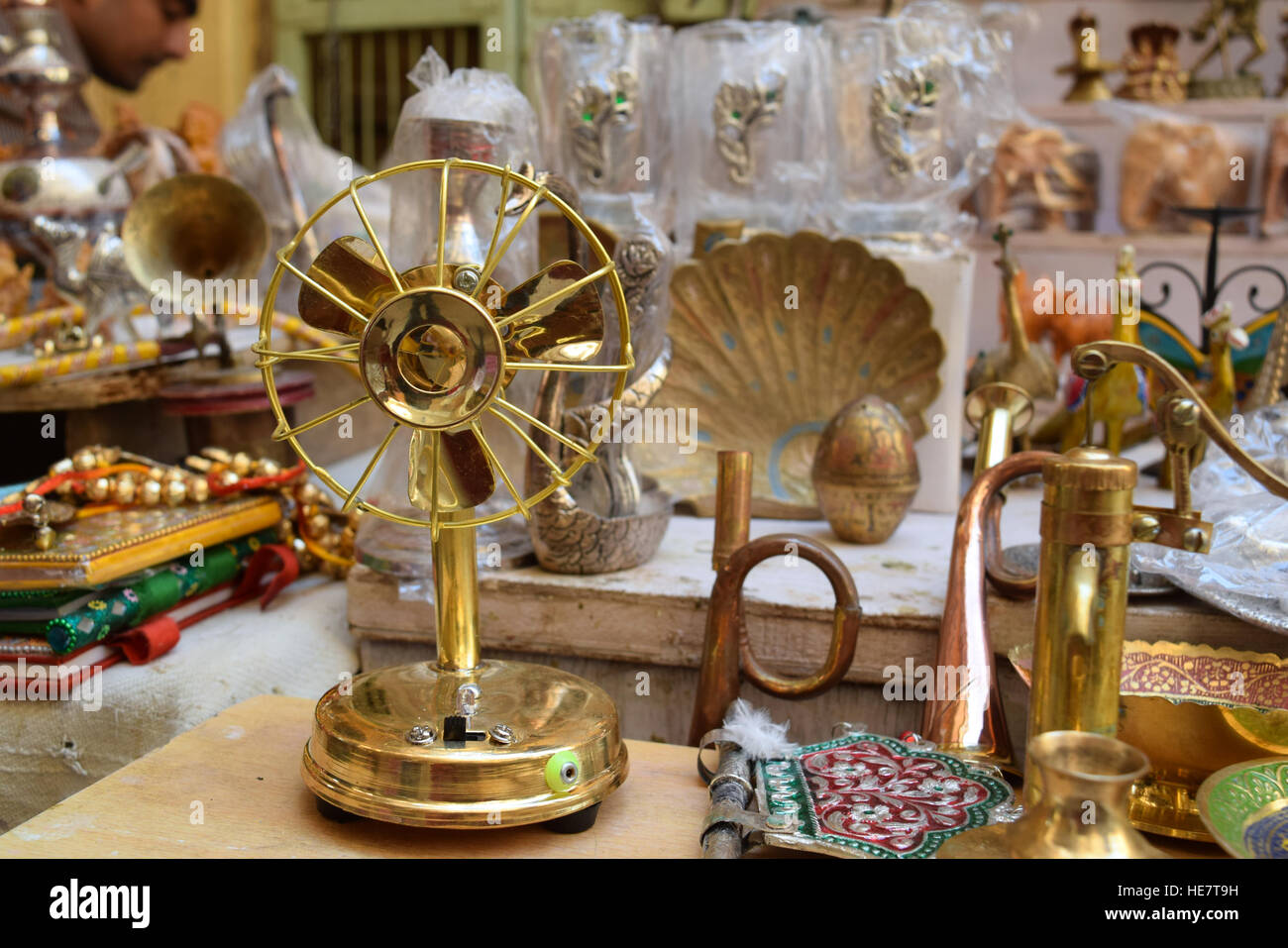 Vintage toy fan picture, Rajasthan, India - Stock Image