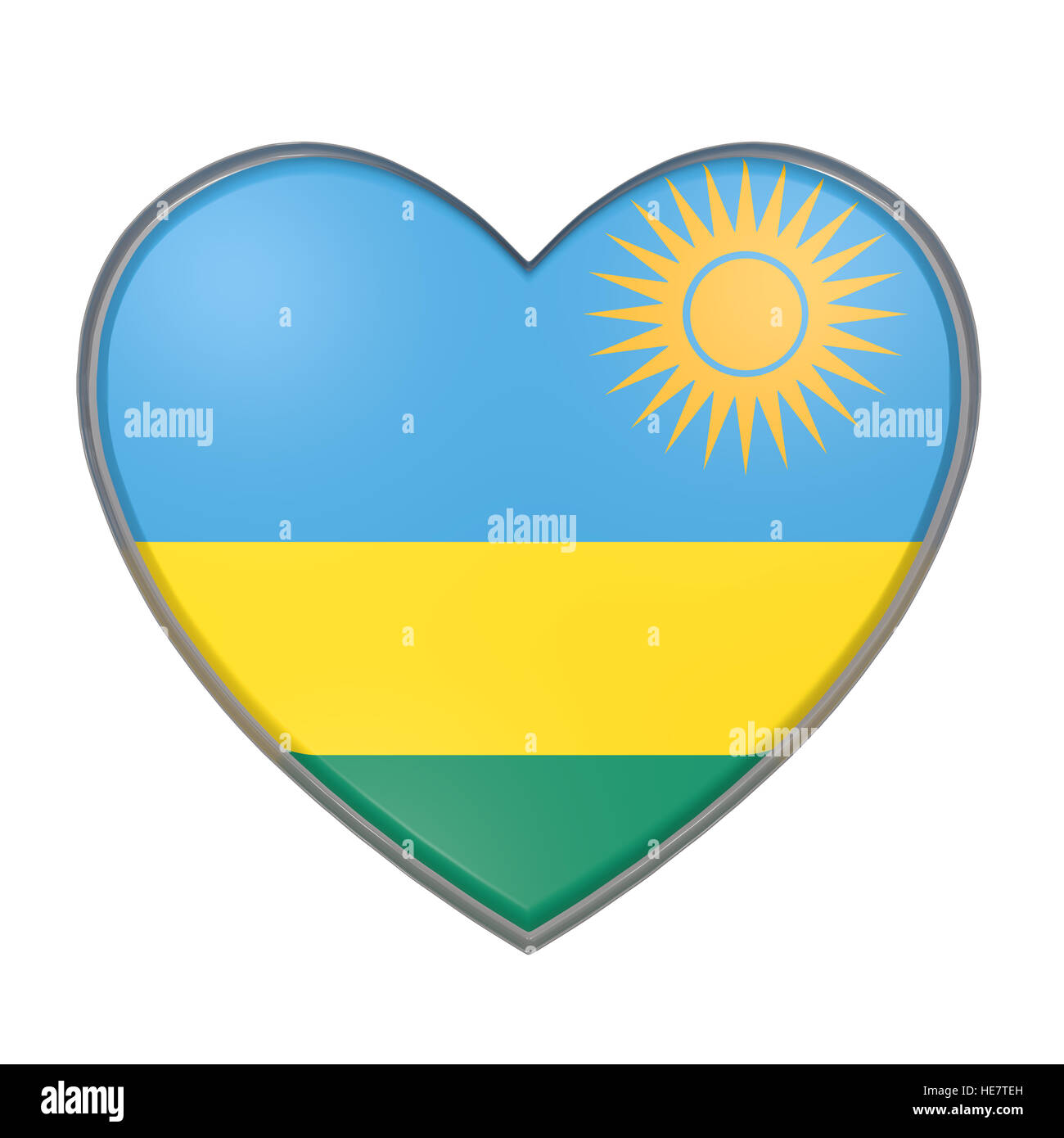 3d rendering of a Rwanda flag on a heart. White background - Stock Image